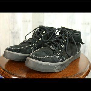 Ugg Ariani black suede fringe sneaker shoe size 6